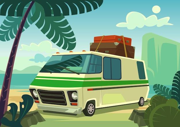 Ilustracja kreskówka płaski samochód wakacje