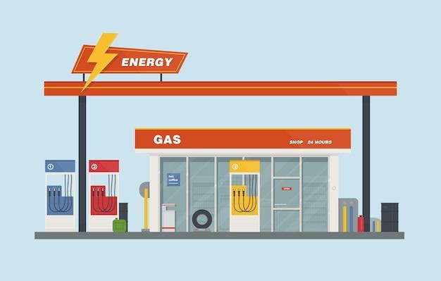 Ilustracja kreskówka płaski wektor stacji benzynowej. kolorowy.