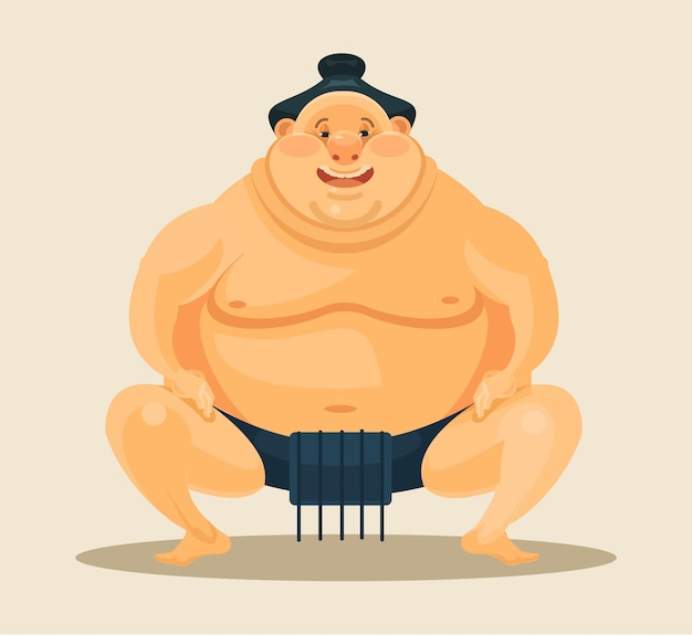 Ilustracja kreskówka płaski zapaśnik sumo