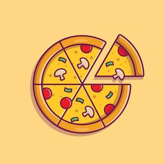 Ilustracja kreskówka plasterek pizzy.