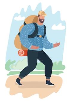 Ilustracja kreskówka podróży człowieka z plecakiem