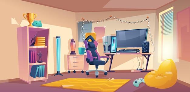 Ilustracja kreskówka pokój gracza