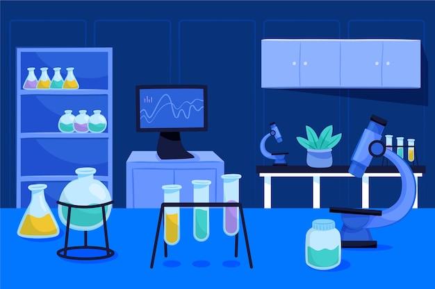 Ilustracja kreskówka pokój laboratoryjny