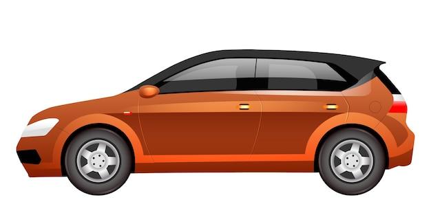 Ilustracja kreskówka pomarańczowy hatchback. przestronny, płaski samochód rodzinny. duży automatyczny widok z boku w kolorze brązowym. nowoczesny transport osobisty, samochód cuv na białym tle