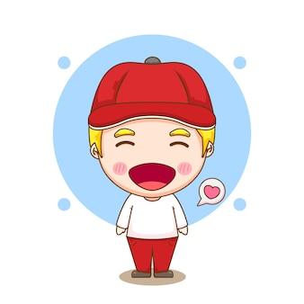 Ilustracja kreskówka postać ładny chłopiec w kapeluszu