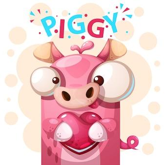 Ilustracja kreskówka postać ładny świnia