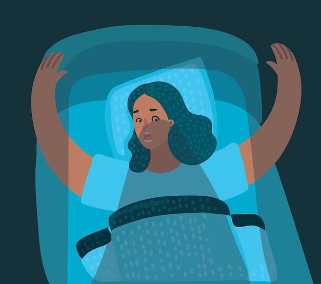 Ilustracja kreskówka przedstawiająca kobietę budzącą się z koszmaru w łóżku w nocy