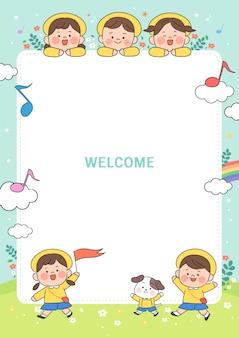 Ilustracja kreskówka przedszkola. urocza ramka z dziećmi, dzieckiem i ramką