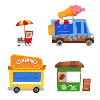 Ilustracja kreskówka przekrzywienie sprzedawcy żywności ulicy