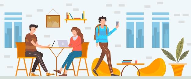 Ilustracja kreskówka przestrzeni coworkingowej