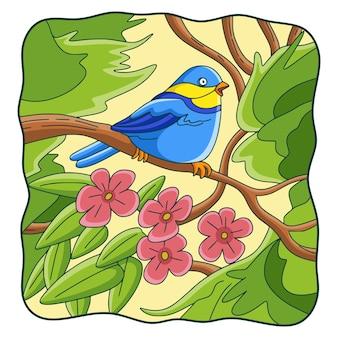 Ilustracja kreskówka ptak na drzewie