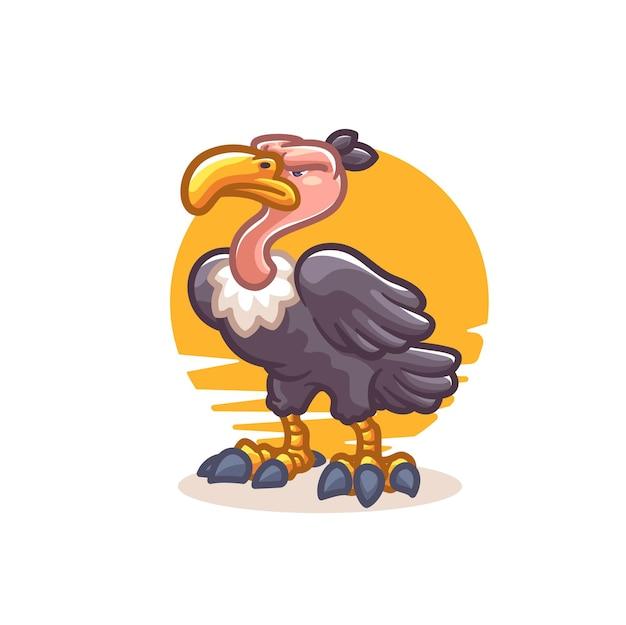 Ilustracja kreskówka ptak sęp