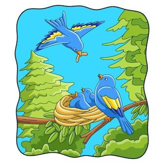 Ilustracja kreskówka ptaki przynoszą jedzenie do swoich gniazd
