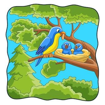 Ilustracja kreskówka ptaki przynoszą jedzenie i okonie na drzewach