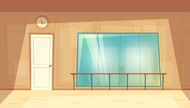 Ilustracja kreskówka pustej sali tanecznej z lustrami i drewnianą podłogą.
