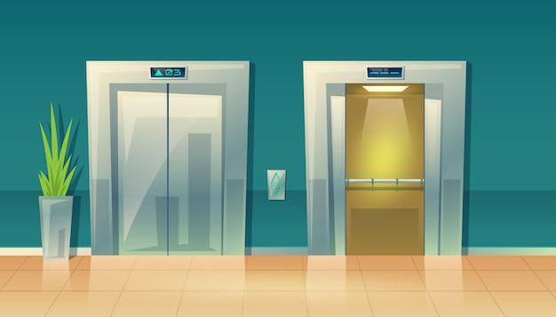 Ilustracja kreskówka pusty korytarz z windami - zamknięte drzwi i otwarte.