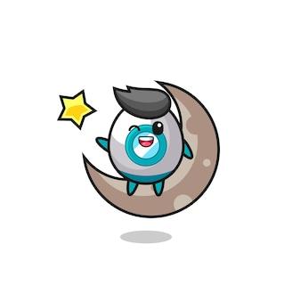 Ilustracja kreskówka rakieta siedząca na półksiężycu, ładny styl na koszulkę, naklejkę, element logo