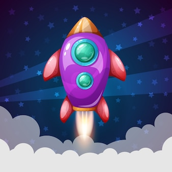 Ilustracja kreskówka rakieta