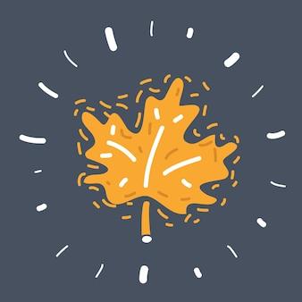 Ilustracja kreskówka ręcznie rysowane liść klonu na białym tle na ciemnym tle
