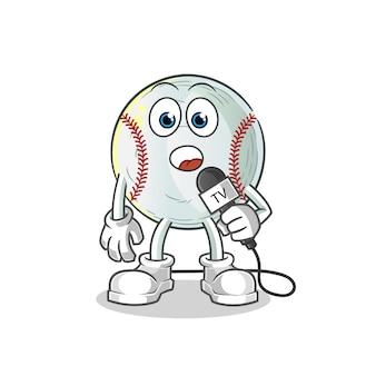 Ilustracja kreskówka reporter tv baseball