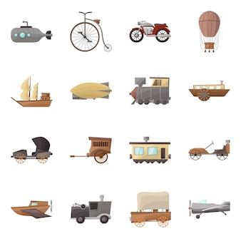 Ilustracja kreskówka retro transportu. zestaw elementów transportu starych i zabytkowych.