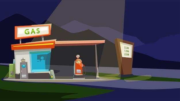 Ilustracja kreskówka rocznika stacji benzynowej w nocy z oświetleniem