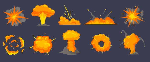 Ilustracja kreskówka różnych eksplozji