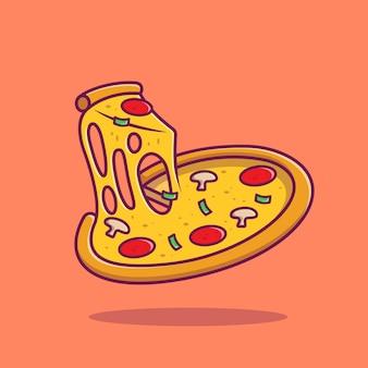 Ilustracja kreskówka rozpuszczoną pizzę.