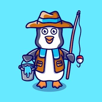 Ilustracja kreskówka rybak ładny pingwin