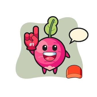 Ilustracja kreskówka rzodkiewki z rękawicą fanów numer 1, ładny styl na koszulkę, naklejkę, element logo