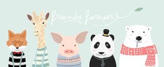 Ilustracja kreskówka słodkie zwierzątko