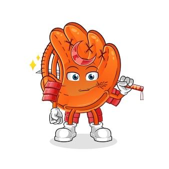 Ilustracja kreskówka samuraj rękawica baseballowa
