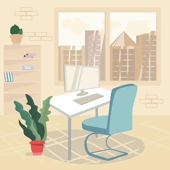 Ilustracja kreskówka schludny i czysty obszar roboczy