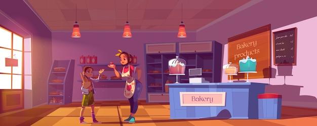 Ilustracja kreskówka sklep cukierniczy.
