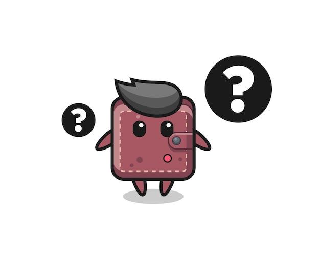 Ilustracja kreskówka skórzanego portfela ze znakiem zapytania