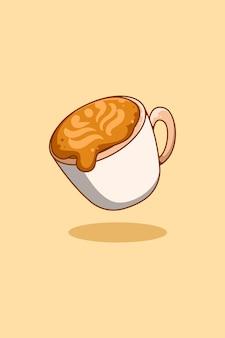 Ilustracja kreskówka słodka kawa cappuccino