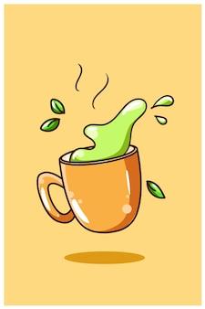 Ilustracja kreskówka słodka zielona herbata