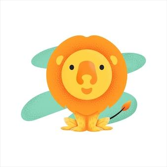 Ilustracja kreskówka słodki lew