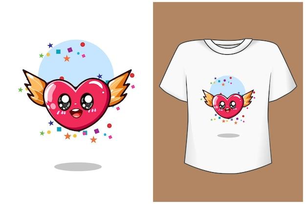 Ilustracja kreskówka słodkie małe serce