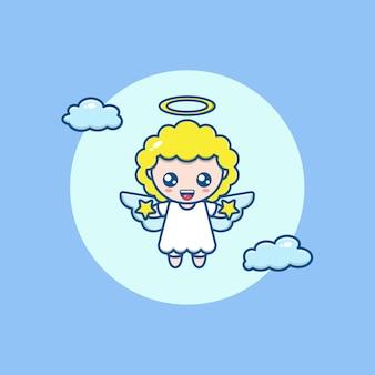 Ilustracja kreskówka słodkiego anioła trzymającego gwiazdę i latającego