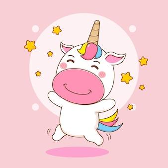 Ilustracja kreskówka słodkiego jednorożca skaczącego z gwiazdami wokół