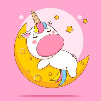 Ilustracja kreskówka słodkiego jednorożca śpiącego na księżycu