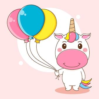 Ilustracja kreskówka słodkiego jednorożca trzymającego balon