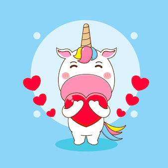 Ilustracja kreskówka słodkiego jednorożca trzymającego miłość