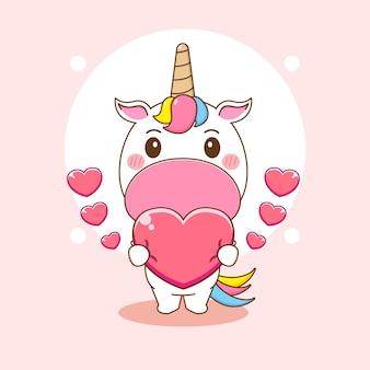 Ilustracja kreskówka słodkiego jednorożca trzymającego serca
