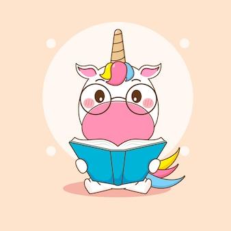 Ilustracja kreskówka słodkiego jednorożca w okularach czyta książkę