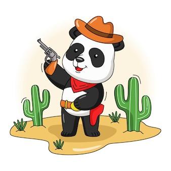 Ilustracja kreskówka słodkiego kowboja pandy