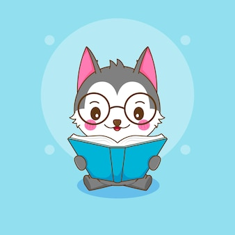 Ilustracja kreskówka słodkiego kujonka husky czytającego książkę w okularach
