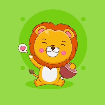 Ilustracja kreskówka słodkiego lwa z mięsem