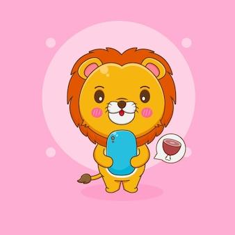 Ilustracja kreskówka słodkiego lwa zamawiającego mięso